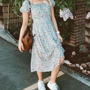 Madewell Smock-Waist Peasant Midi Dress